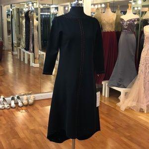 Women's 3/4 sleeve dress, black, orange stitch